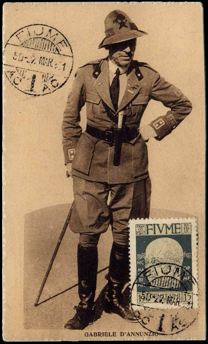 1921 Postcard from Fiume and postage stamp with D'Annunzio's portrait. (The motto Hic Manebimus Optime is Latin for: