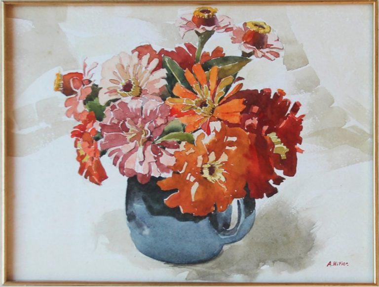 Blauwe vaas met bloemen door Adolf Hitler