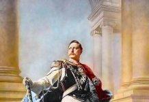 Barok portret van Wilhelm II in een theatrale pose; door schilder Max Kohner (1890)