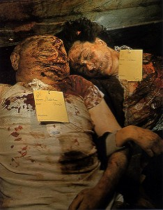 Mussolini lie beside his mistress, Clara Petacci in a morgue in Milan, Italy after execution, public display and mutilation