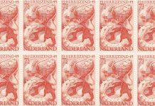 """Bevrijdingspostzegel 1944/1945 Nederland """"19 HERRIJZEND 45"""""""