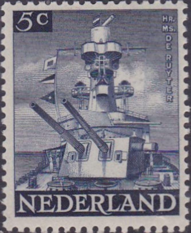 """Herdenkingszegel """"Hr. Ms. De Ruyter"""" """"Slag in de Java-zee 27 februari 1942"""""""