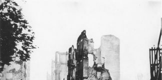 Guernica na het Duits bombardement op 26 april 1937 tijdens de Spaanse Burgeroorlog.