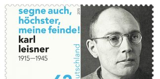 Karl Leisner, German stamp (2015); inscription: Bless also, o Most High, my enemies.