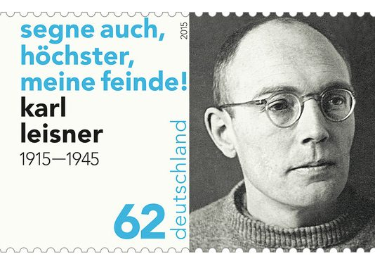 Karl Leisner, German stamp (2015); inscription: Bless also, o Most High, my enemies.